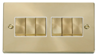 Scolmore Click Deco Satin Brass Ingot Light Switch 6 Gang 2Way VPSB416