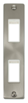 Scolmore Click Deco Satin Chrome 2G Twin Architrave Switch Plate VPSC472