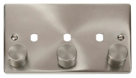 Scolmore Click Deco Satin Chrome 3 Gang Dimmer Plate Only VPSC153PL