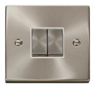 Scolmore Click Deco Satin Chrome Ingot Light Switch 2 Gang 2Way VPSC412