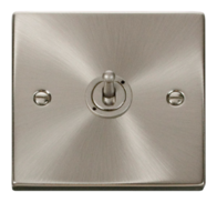 Scolmore Click Deco Satin Chrome Toggle Switch 1 Gang 2Way VPSC421