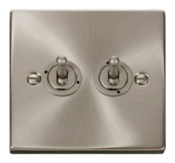 Scolmore Click Deco Satin Chrome Toggle Switch 2 Gang 2Way VPSC422