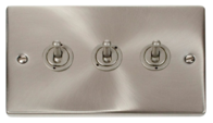 Scolmore Click Deco Satin Chrome Toggle Switch 3 Gang 2Way VPSC423