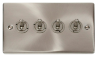 Scolmore Click Deco Satin Chrome Toggle Switch 4 Gang 2Way VPSC424