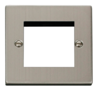 Scolmore Click Deco Stainless Steel 2G Euro Plate VPSS311