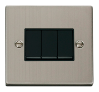 Scolmore Click Deco Stainless Steel 3 Gang 2 Way Switch VPSS013