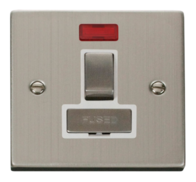 Scolmore Click Deco Stainless Steel Ingot Switched Spur Neon VPSS752WH