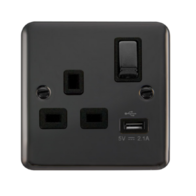 Scolmore Deco Plus Black Nickel 13A 1 Gang Switched Socket with 2.1A USB Ingot DPBN571BK