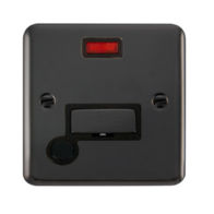 Scolmore Deco Plus Black Nickel 13A Fused Connection Unit with Flex Outlet & Neon DPBN553BK