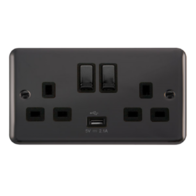 Scolmore Deco Plus Black Nickel 13A Ingot 2 Gang DP Switched Socket and USB DPBN570BK