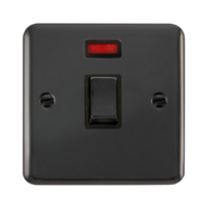 Scolmore Deco Plus Black Nickel 20A 1 Gang Ingot Double Pole Switch with Neon DPBN723BK