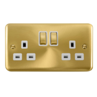 Scolmore Deco Plus Satin Brass 13A Ingot 2 Gang DP Switched Socket DPSB536