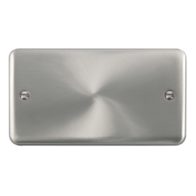 Scolmore Click Deco Plus Satin Chrome 2 Gang Double Blank Plate DPSC061
