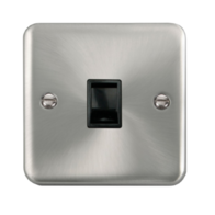 Scolmore Click Deco Plus Satin Chrome Single RJ11 Telephone Socket DPSC115