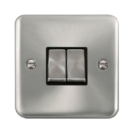 Scolmore Click Deco Plus Satin Chrome 10AX Ingot 2 Gang 2 Way Plate Switch DPSC412