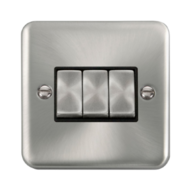 Scolmore Click Deco Plus Satin Chrome 10AX Ingot 3 Gang 2 Way Plate Switch DPSC413