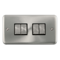 Scolmore Click Deco Plus Satin Chrome 10AX Ingot 4 Gang 2 Way Plate Switch DPSC414