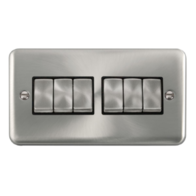 Scolmore Click Deco Plus Satin Chrome 10AX Ingot 6 Gang 2 Way Plate Switch DPSC416