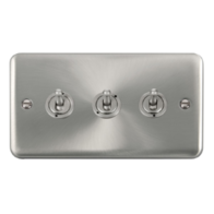 Scolmore Click Deco Plus Satin Chrome 10AX 3 Gang 2 Way Toggle Switch DPSC423