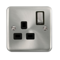 Click Deco Plus Satin Chrome 13A 1 Gang DP Switched Socket DPSC535