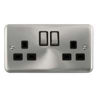 Scolmore Deco Plus Satin Chrome 13A Ingot 2 Gang DP Switched Socket DPSC536