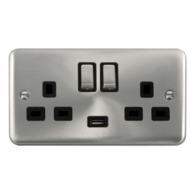Scolmore Deco Plus Satin Chrome 13A Ingot 2 Gang DP Switched Socket and USB DPSC570