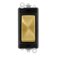 Scolmore Grid Pro 20AX 2 Way Retractive Switch Module - Black - Satin Brass - GM2004BKSB