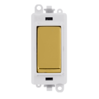 Scolmore Grid Pro 20AX 2 Way Retractive Switch Module - White - Polished Brass - GM2004PWBR