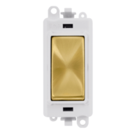 Scolmore Grid Pro 20AX 2 Way Retractive Switch Module - White - Satin Brass - GM2004PWSB
