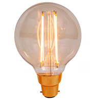 Vintage Filament Light Bulb 125mm Globe BC 4W LED Amber 01436