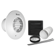 Xpelair Simply Silent DX100HPTR 100mm Round Pull Cord Timed Humidistat Extractor Fan with Wall Kit 93009AW