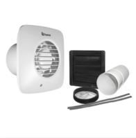 Xpelair Simply Silent DX100HTS 100mm Square Timed Humidistat Extractor Fan with Wall Kit 93028AW
