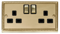 Scolmore Click Deco Georgian Brass Switches & Sockets