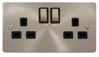 Click Define Brushed Steel Switches & Sockets