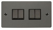 Scolmore Flat Plate Black Nickel Switches & Sockets