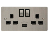Scolmore Flat Plate Steel Switches & Sockets