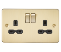 Knightsbridge Brushed Brass Flat Plate Switches & Sockets
