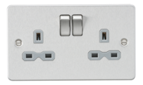 Knightsbridge Brushed Chrome Flat Plate Switches & Sockets