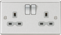Knightsbridge Brushed Chrome Raised Plate Switches & Sockets