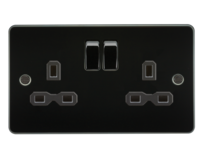 Knightsbridge Gun Metal Flat Plate Switches & Sockets