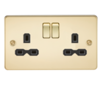 Knightsbridge Polished Brass Flat Plate Switches & Sockets