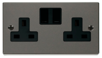 Scolmore Raised Plate Black Nickel Switches & Sockets
