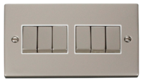 Raised Plate Pearl Nickel Switches & Sockets