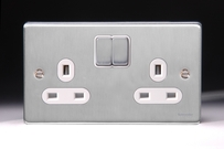 Schneider Low Profile Switches & Sockets Brushed Chrome