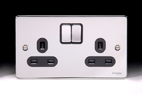 Schneider Low Profile Switches & Sockets Polished Chrome